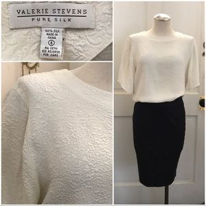 Vtg off white silk boxy short sleeve blouse